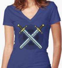 Crossed Swords Women's Fitted V-Neck T-Shirt