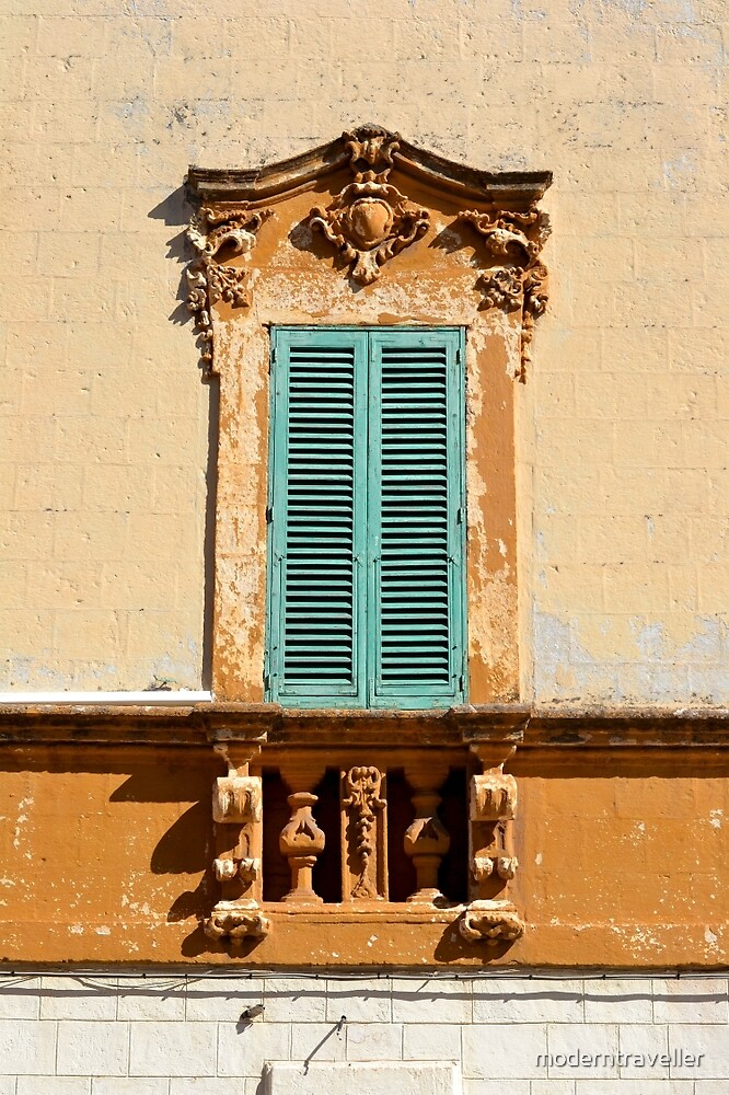 Ornate window frame in bright wall, Italy by moderntraveller
