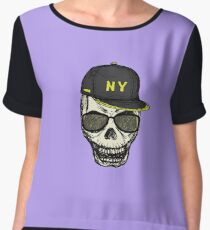 Scary skull in fashionable glasses and cap Chiffon Top