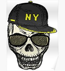 Scary skull in fashionable glasses and cap Poster