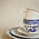 Stacked blue and white china cup and saucers. by Lyn  Randle