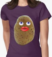 Funny Potato Cute Character With Blue Eyes Womens Fitted T-Shirt