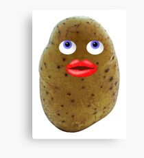 Funny Potato Cute Character With Blue Eyes Canvas Print