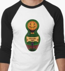 Halloween pumpkin with the poster in hands in style of a nested doll Men's Baseball ¾ T-Shirt