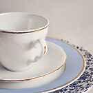 White china cup, saucer and plates. by Lyn  Randle