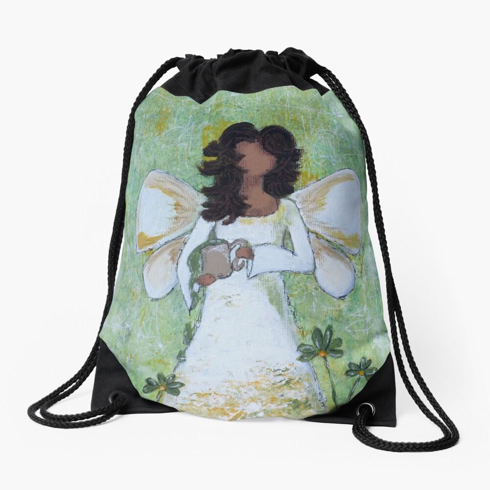 Angel of Abundance, African American, Angel, Black Angels, Latina Drawstring Bag Front