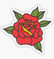 doodle rose. traditional tattoo flash Sticker