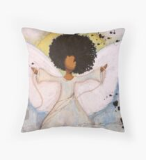 Boundless Angel, African American, Latina, Black Angel Throw Pillow