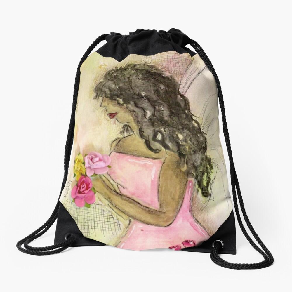 Angel of Encouragement, African American, Latina, Angel Drawstring Bag Front