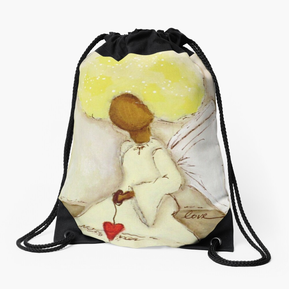 Angel of Love Again, African American, Latina Drawstring Bag Front