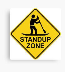 Standup Paddleboarding Zone Road Sign Canvas Print