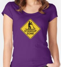 Standup Paddleboarding Zone Road Sign Women's Fitted Scoop T-Shirt