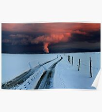 Sunset clouds above Switzerland Poster