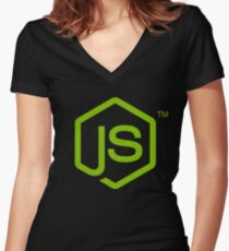 Nodejs Women's Fitted V-Neck T-Shirt