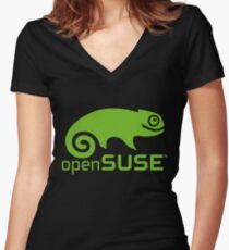 openSUSE LINUX Women's Fitted V-Neck T-Shirt