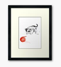 Cat and wool cats poster, sumi-e art print Framed Print