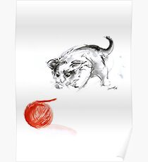Cat and wool cats poster, sumi-e art print Poster