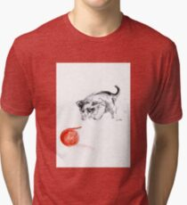 Cat and wool cats poster, sumi-e art print Tri-blend T-Shirt