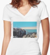 Ocean View by the Rocks Women's Fitted V-Neck T-Shirt