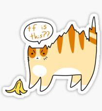 Cat Scared of Banana Peel Sticker
