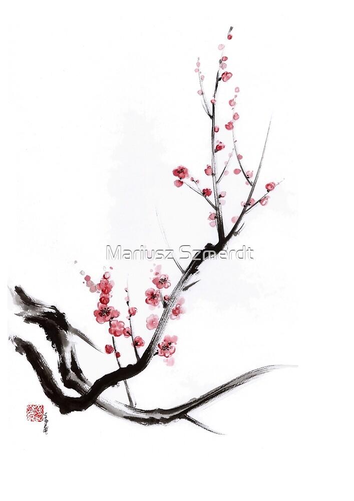 Quot Cherry Blossom Tree Sumi E Painting Sakura Art Print Quot By