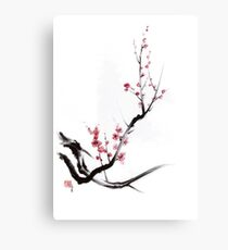 Cherry blossom tree sumi-e painting, sakura art print Canvas Print