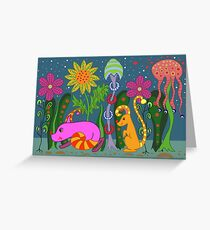 vector fantastic night forest with fabulous animals Greeting Card