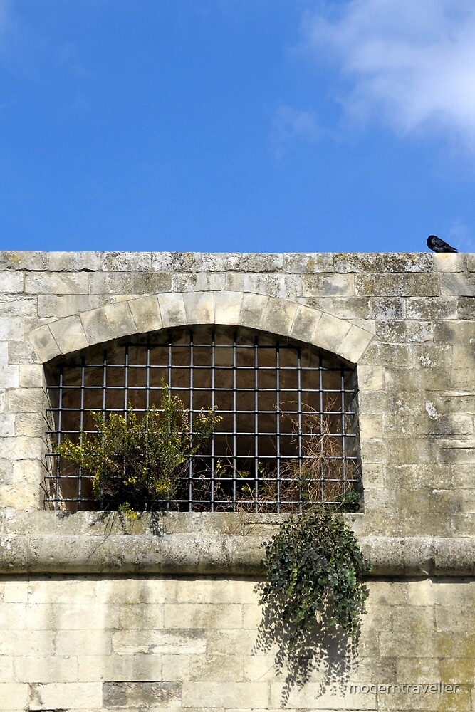 Metal gate in a high fort wall by moderntraveller