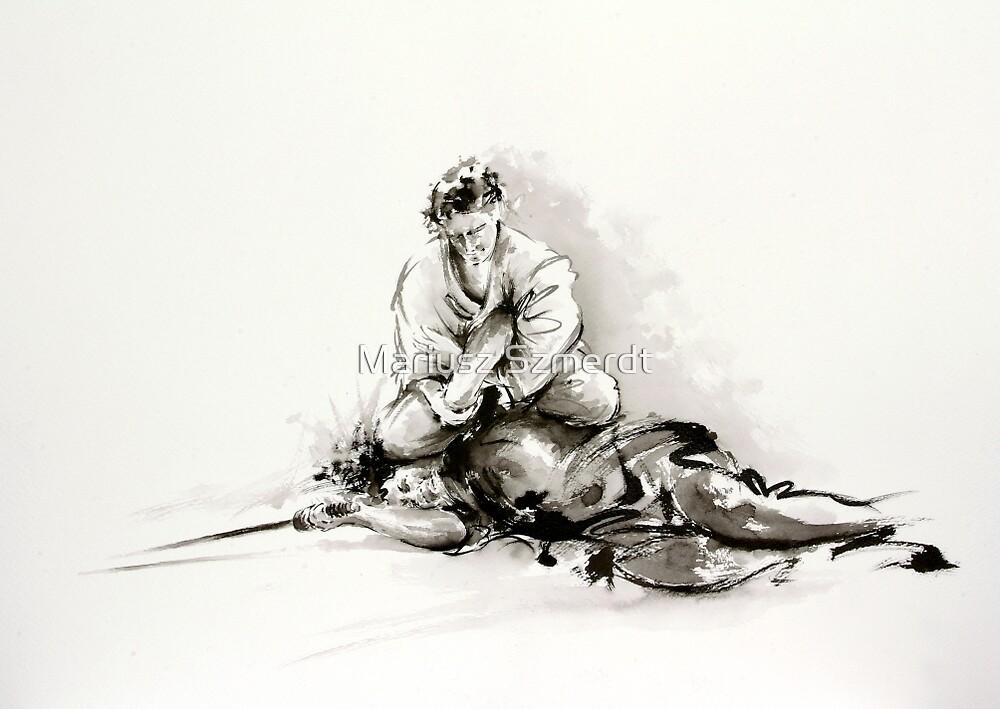 Sumi-e martial arts, samurai large poster for sale by Mariusz Szmerdt