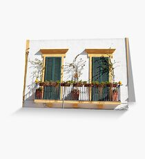 Bright balcony, beautiful shutters - Puglia Greeting Card