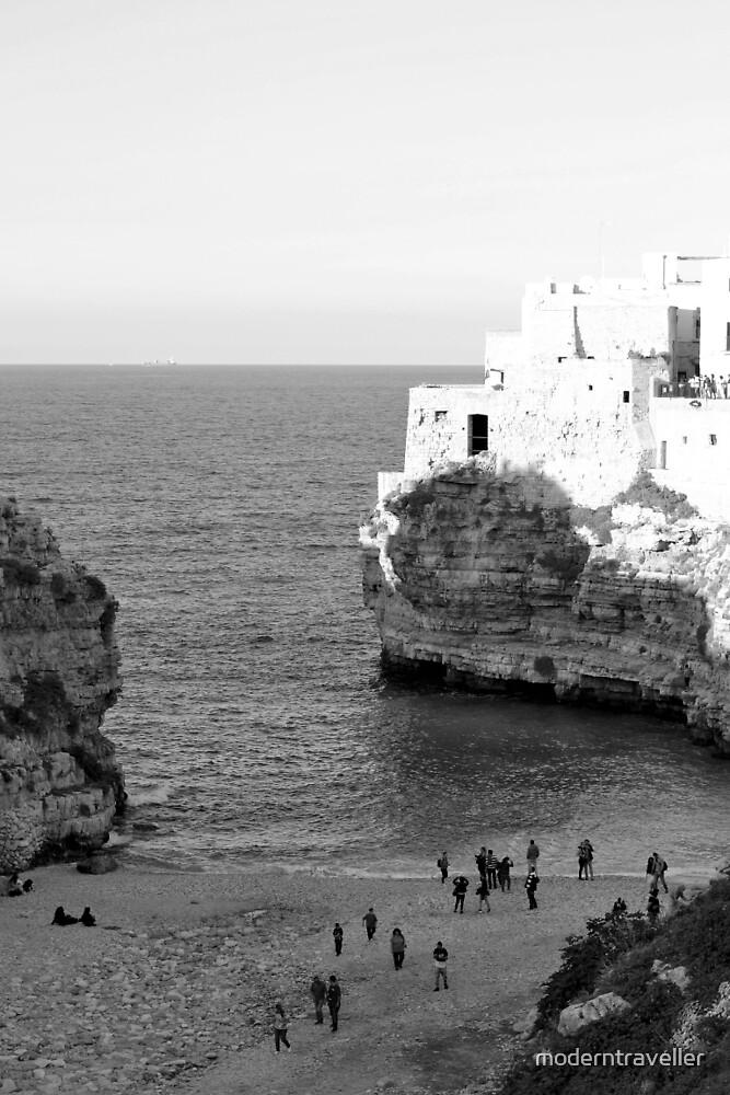 Monochrome coastal bay, Puglia by moderntraveller