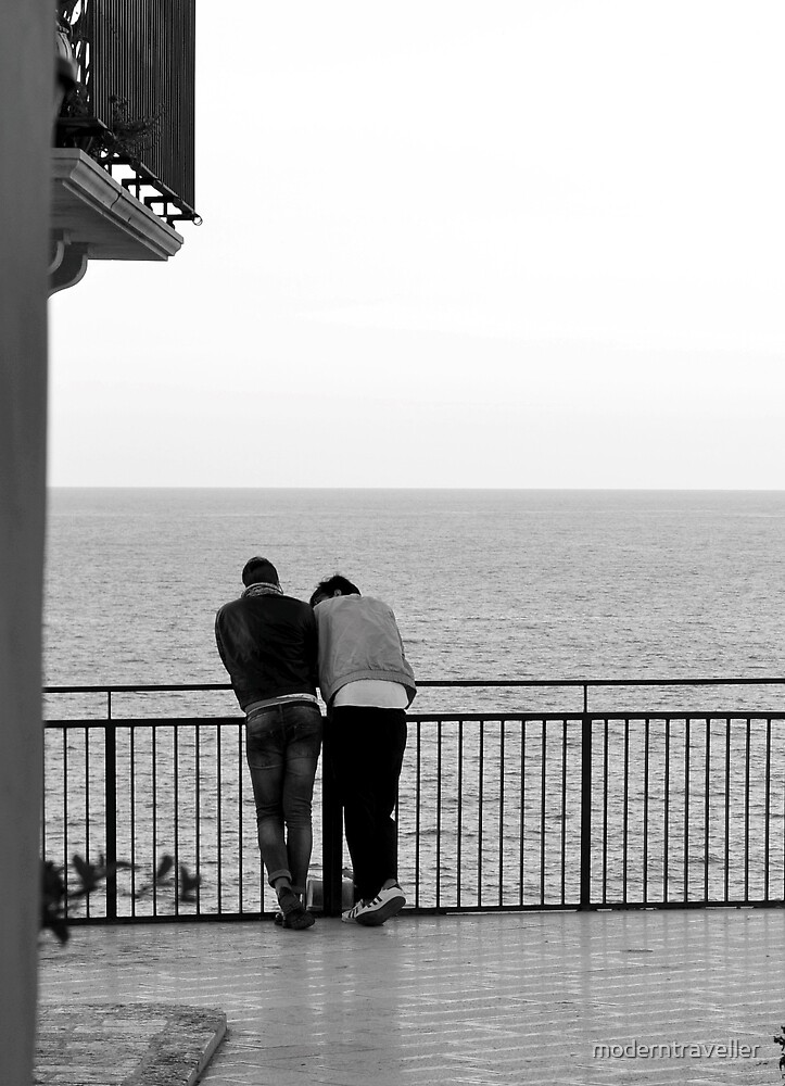 Couple beside the sea in monochrome by moderntraveller