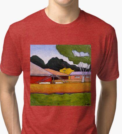 Australian Backyard with Hills Hoist Tri-blend T-Shirt
