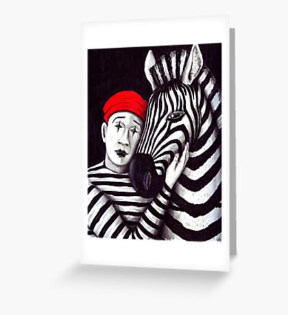 Zebra and Mime pen, ink, and colored pencils drawing Greeting Card