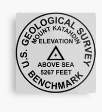Mount Katahdin, Maine USGS Style Benchmark Metal Print