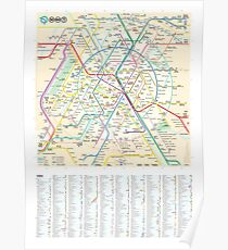 The New Paris Metro Map with Index Poster