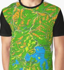 Yellowstone National Park Topographical Map Graphic T-Shirt