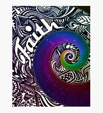 Faith Abstract Design with Rainbow Star Swirl Photographic Print