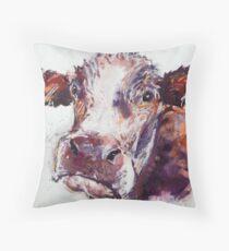 Gloomy Cow Throw Pillow