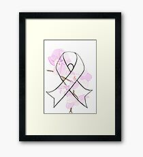 Orchid Breast Cancer Ribbon Framed Print