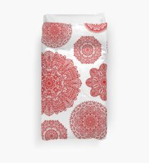 Red Mandalas for Peace and Beauty Duvet Cover