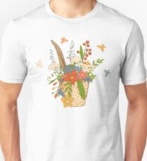 Basket with a bright bouquet of flowers. T-Shirt