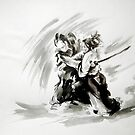 Samurai vs samurai watercolor art print, ronin battle by Mariusz Szmerdt