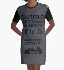 Detroit Is My Home - Black Edition Graphic T-Shirt Dress