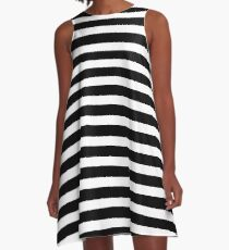 Black H Stripe A-Line Dress