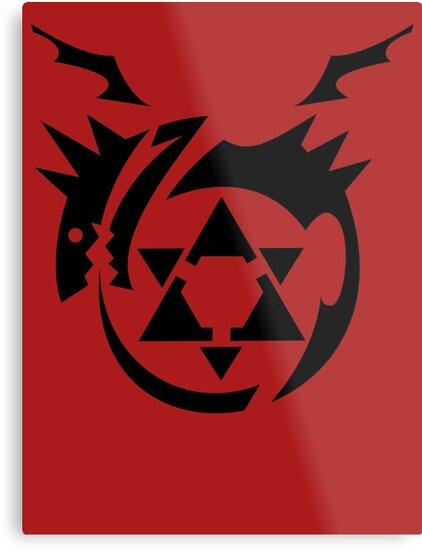 Black Homunculus Symbol Fullmetal Alchemist Metal Prints By