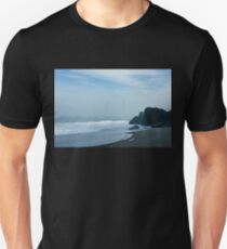 San Francisco Fog - Barely Discernible Golden Gate Bridge from China Beach  Unisex T-Shirt