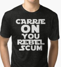 """RIP Carrie Fisher Princess Leia """"Carrie On"""" Tri-blend T-Shirt"""