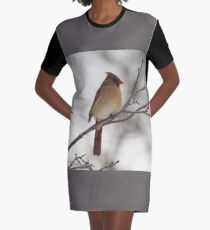 Perched Female Red Cardinal Graphic T-Shirt Dress
