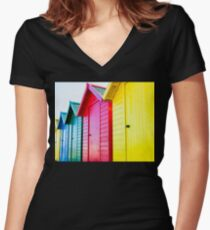 Colorful beach huts Women's Fitted V-Neck T-Shirt